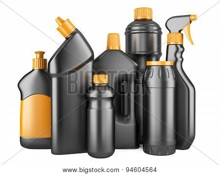 Set Of Black Bottles With Detergents