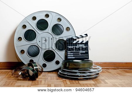 Cinema Movie Roll With Clapper And Reels