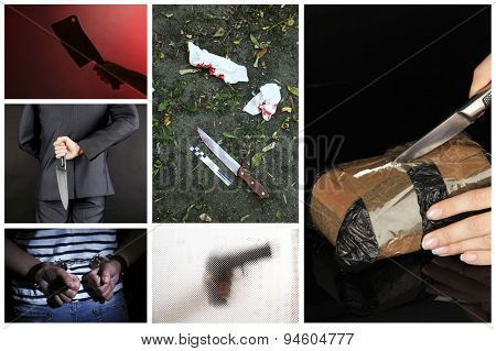 Conceptual collage of crime