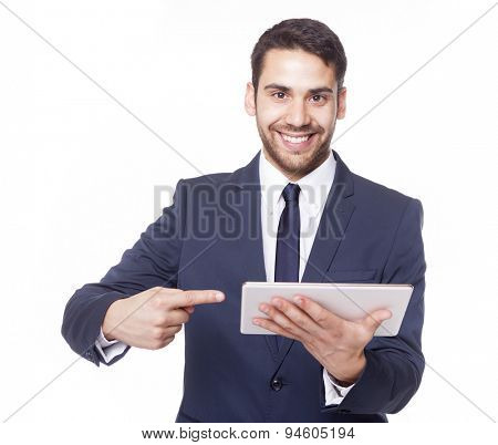 Business man holding a tablet computer, isolated on white background