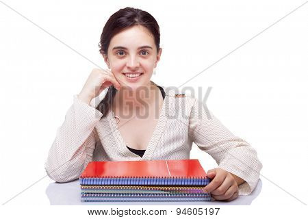 Female student looking at camera on white background
