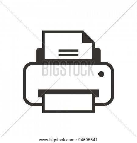 Printer icon BW vector design. Print documents logo concept.