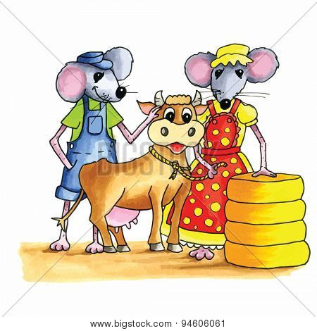 From the series mouse - couple mice with cow and bog stack cheese