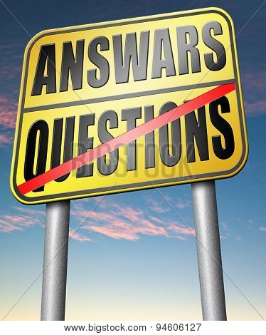 question answer ask the right questions and get an answers help or support desk solving problems and finding solutions road sign