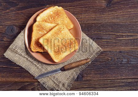 Plate With Toasted Bread