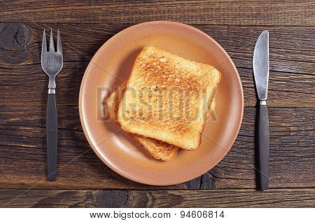 Toasted Bread, Fork And Knife