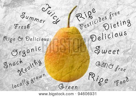 Fresh pear and words around on grey background