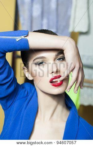 Sweet Lady In Blue Jacket