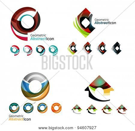 Abstract company logo collection, typography letters and other elements, waves, lines. Various universal icon set for any idea