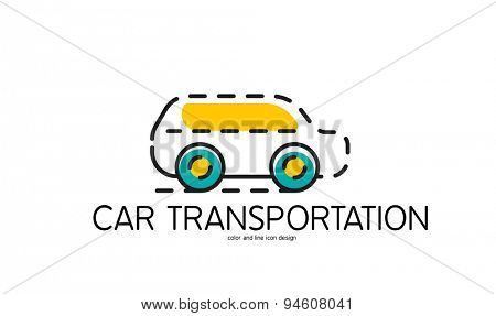 Color line icon for flat design isolated on white. Car transportation