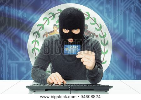 Concept Of Cybercrime With National Flag On Background - Belize
