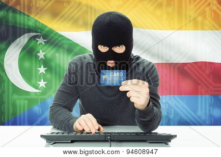 Concept Of Cybercrime With National Flag On Background - Comoros