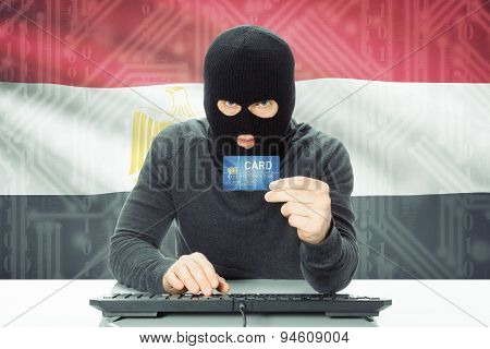 Concept Of Cybercrime With National Flag On Background - Egypt