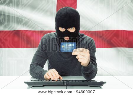 Concept Of Cybercrime With National Flag On Background - England
