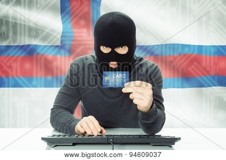 Concept Of Cybercrime With National Flag On Background - Faroe Islands