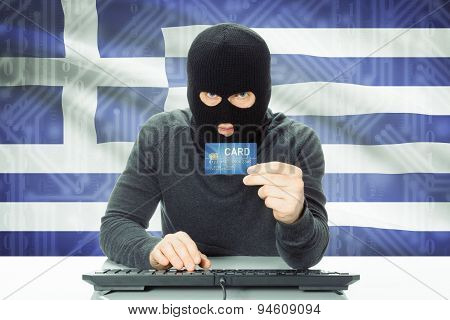Concept Of Cybercrime With National Flag On Background - Greece