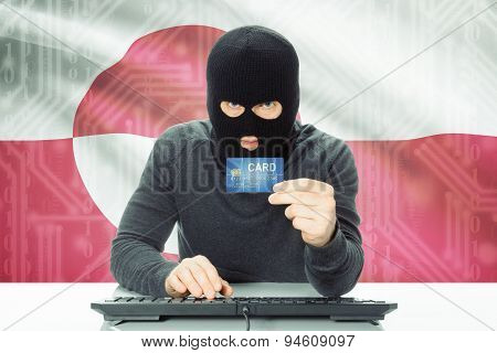 Concept Of Cybercrime With National Flag On Background - Greenland