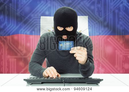 Concept Of Cybercrime With National Flag On Background - Haiti