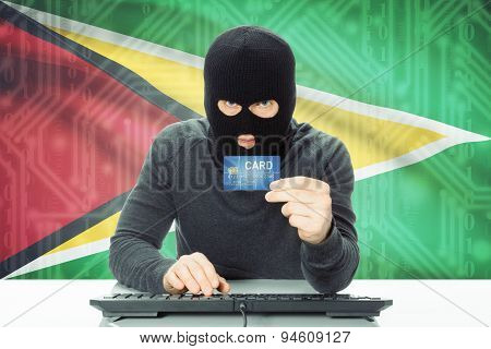 Concept Of Cybercrime With National Flag On Background - Guyana