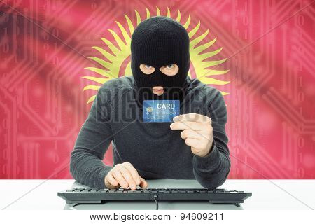 Concept Of Cybercrime With National Flag On Background - Kyrgyzstan