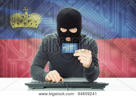 Concept Of Cybercrime With National Flag On Background - Liechtenstein