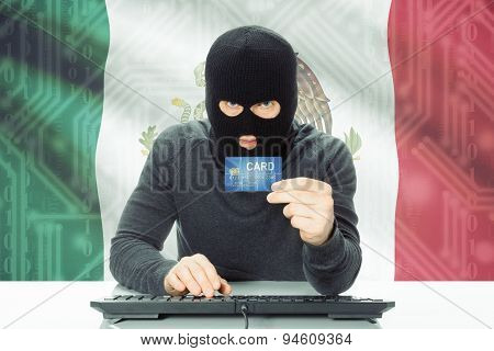 Concept Of Cybercrime With National Flag On Background - Mexico