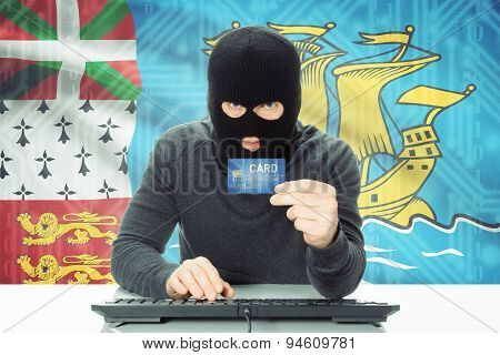 Concept Of Cybercrime With National Flag On Background - Saint-pierre And Miquelon
