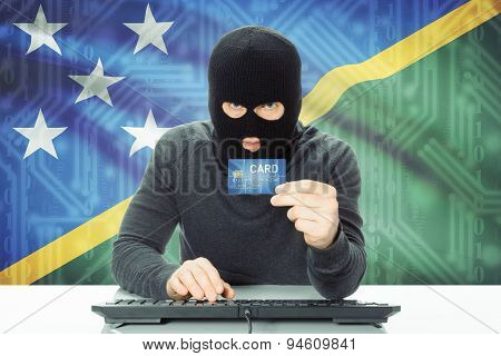Concept Of Cybercrime With National Flag On Background - Solomon Islands