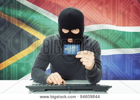 Concept Of Cybercrime With National Flag On Background - South Africa