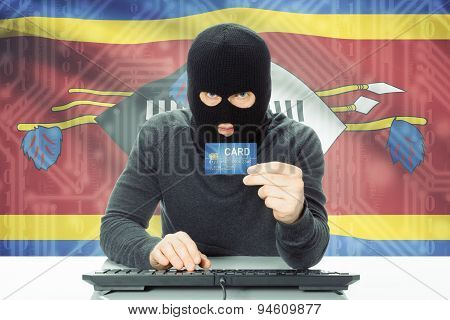 Concept Of Cybercrime With National Flag On Background - Swaziland