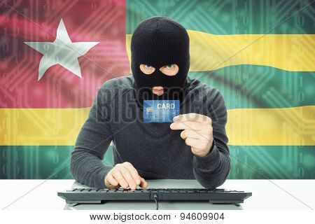 Concept Of Cybercrime With National Flag On Background - Togo