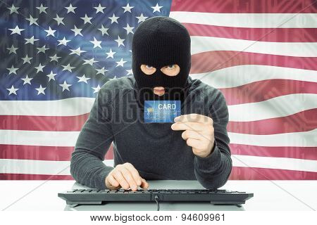 Concept Of Cybercrime With National Flag On Background - United States