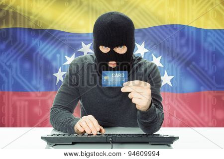 Concept Of Cybercrime With National Flag On Background - Venezuela
