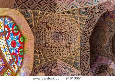 Nasir Al-Mulk Mosque ceiling interior