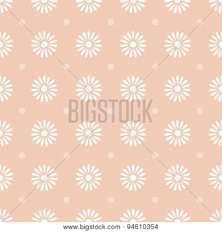 Flower on brown seamless pattern background