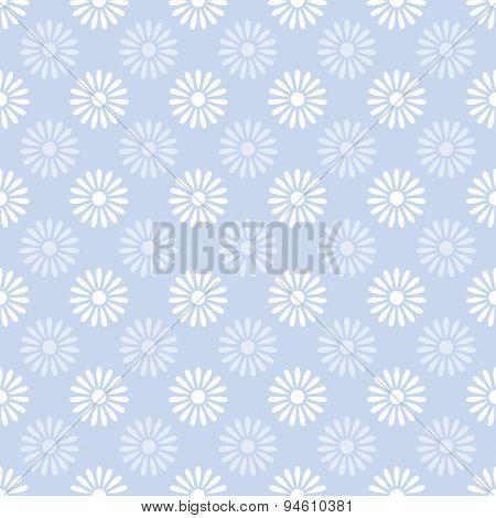 Flower on blue seamless pattern background