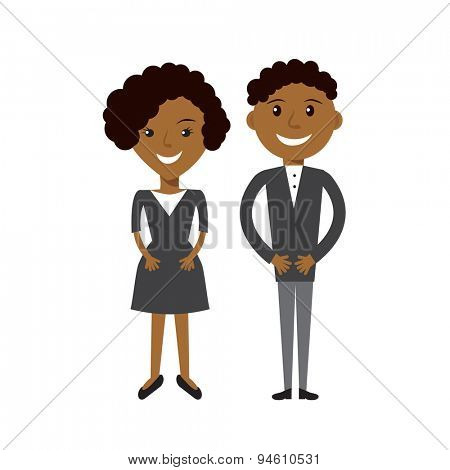 Couple of business woman and business man. Black afroamerican business people flat illustration