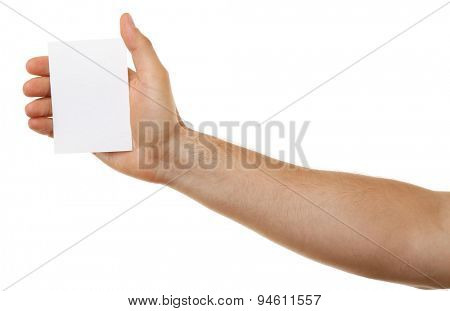 Male hand holding paper card isolated on white