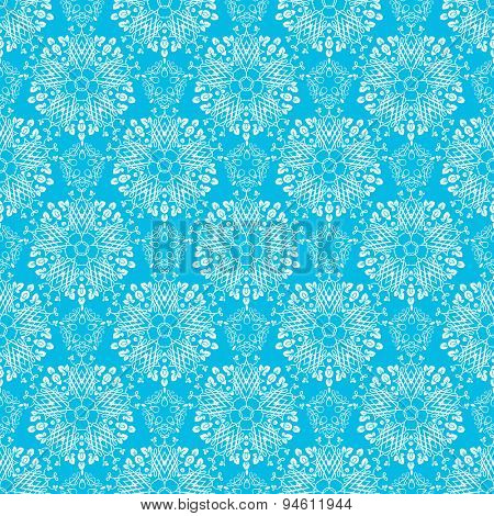 Blue elegant ornamental background. Seamless pattern.