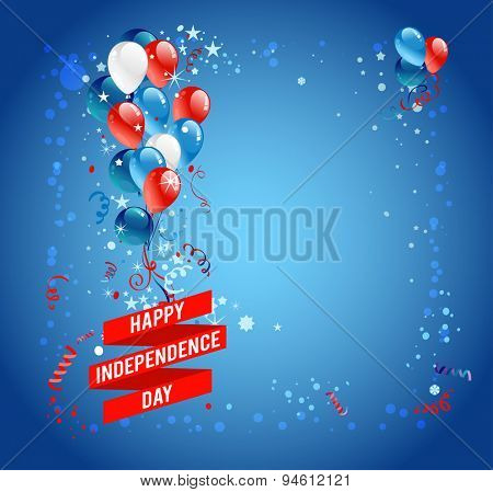 Independence day card with balloons. Background with stars for advertising, leaflet, cards, invitation and so on.