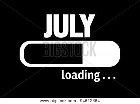 Progress Bar Loading with the text: July