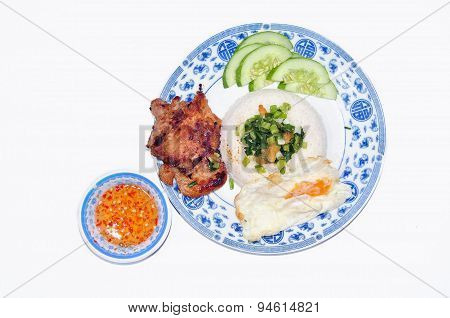Vietnamese broken rice or Com tam on a white background