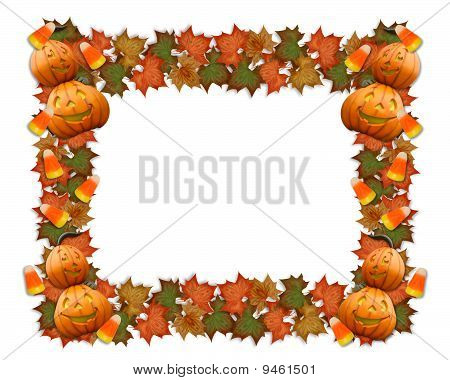 Halloween border leaves and pumpkins