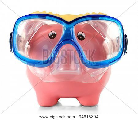 Piggy bank with mask for diving isolated on white