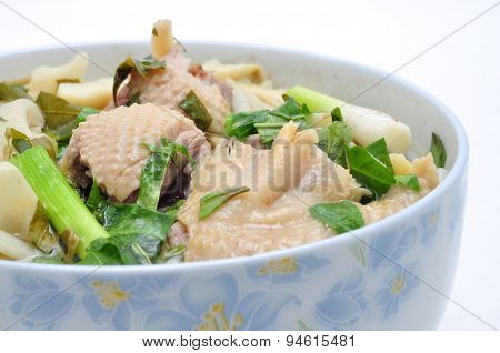 Bun Mang Vit or Vietnamese Rice Vermicelli with Bamboo Shoots and Duck Salad
