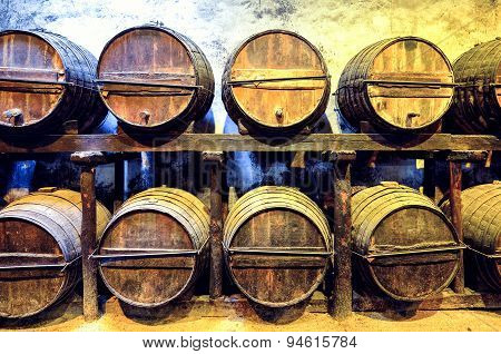 Old Barrels For Whisky Or Wine