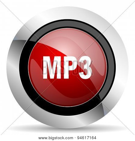 mp3 red glossy web icon original modern design for web and mobile app on white background