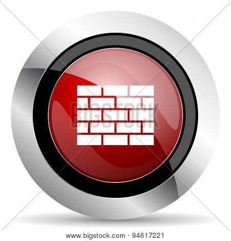 firewall red glossy web icon original modern design for web and mobile app on white background