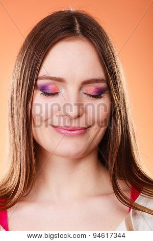 Woman Closed Eyes Colorful Makeup Portrait