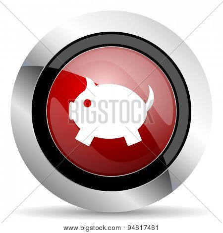 piggy bank red glossy web icon original modern design for web and mobile app on white background